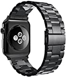 Simpeak Stainless Steel Band Strap for Apple Watch 42mm Series 1 Series 2 Series 3, Black