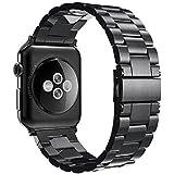 Apple Watch Bracelet 42mm, Simpeak Apple Watch Band Acier Inoxydable Strap Wrist Band Replacement avec Métal Fermoir pour Apple Watch 42mm Series 1 Series 2 Series 3- Noir