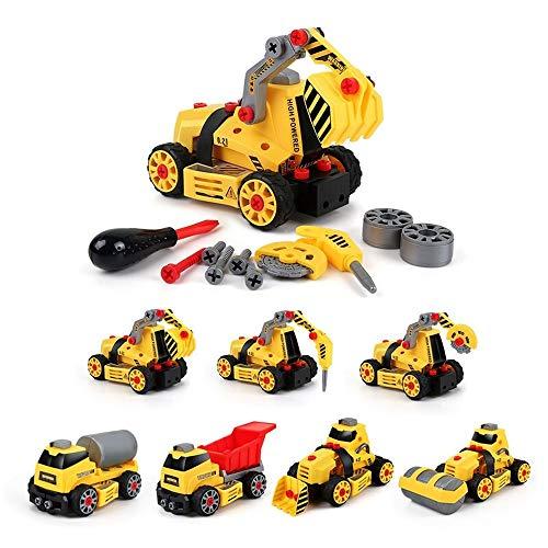 Kikioo Konstruktionsspielzeug - Spielzeug zum Auseinandernehmen, Spielzeugfahrzeuge, Montage Toy Bulldozer Constructions Engineering Auto LKW Serie montiert DIY Baufahrzeuge Sets Kinder Jungen Party G - Story 4k Toy