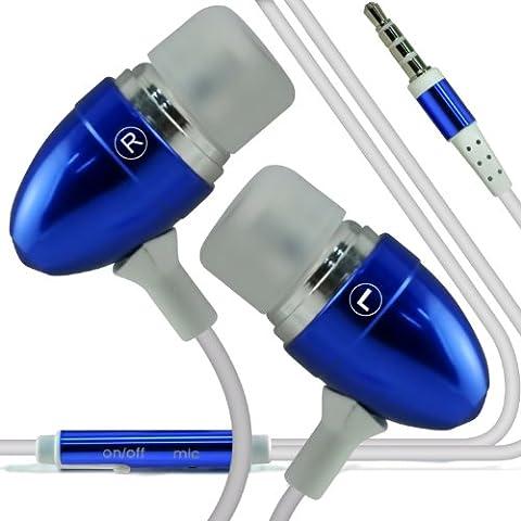 Pulso ONX3 T-Mobile Mini Calidad Premium en auriculares de botón estéreo de manos libres de auriculares Auriculares con micrófono Mic y botón de encendido y apagado (azul)