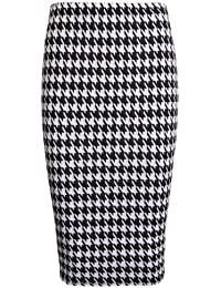 The Home of Fashion Womens Black and White Dogtooth Print Midi Pencil Skirt