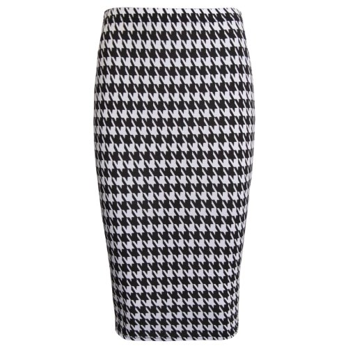 Womens Black and White Dogtooth Print Midi Pencil Skirt for Ska dress-up - Sizes from 8 to 14