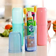 Inditradition Toothbrush & Toothpaste Storage Tube Case | Plastic, Transparent, Assorted Color (Pack of 1)