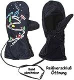 Unbekannt Fausthandschuhe / Fäustlinge - mit Reißverschluss & langem Schaft - Größe 7 bis 8 Jahre -  Ski Abfahrt / dunkel blau  - LEICHT anzuziehen ! mit Daumen __ wa..