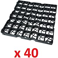 40 x Black Plastic Paving Driveway Grid Turf Grass Lawn Path Gravel Protector Drainage Mat (10 Square Meter)