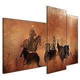 Bilderdepot24 Kunstdruck - Cowboy mit Pferden - Bild auf Leinwand - 130x80 cm dreiteilig - Leinwandbilder - Bilder als Leinwanddruck - Wandbild