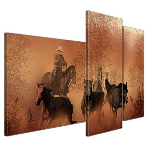 Wandbild - Cowboy mit Pferden - Bild auf Leinwand - 130x80 cm dreiteilig - Leinwandbilder - Kunst & Lifestyle - Wildwest - Reiter im Viehtrieb