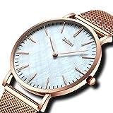 Herren Einfacher Designer Uhren Gold Männer Mesh Strap Luxus Einfacher Designer Ultra dünn Armbanduhr Edelstahlband 30M Wasserdicht Analog Quartz Geschäft Lässig Uhr Weiß Dial