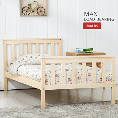mecor 3FT Double Bed in Natural Finished Wooden Frame Bedroom Furniture