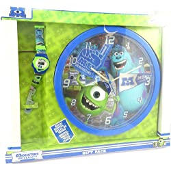 "Box clock + wrist watch ""Monsters University""blue green."