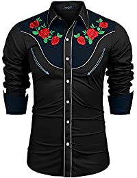 L'Amore Coofandy Mens Long Sleeve Shirt Cowboy Embroidered Rose Pattern Western Shirt