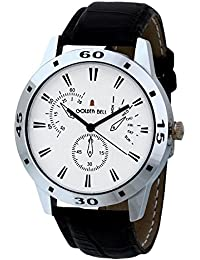 Golden Bell Original Chronograph Look White Dial Black Strap Analog Wrist Watch For Men - GB-618