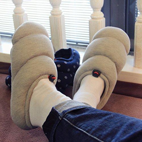 Fortuning's JDS Unisex adulti coppia accogliente modello cotone Casa Calzature spirale confortevole Mezza avvolgere pantofole Grigio