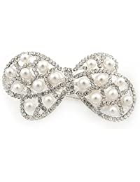 Suite diseño de vestido de fiesta de boda tono plateado con brillantes de 'lazo' perlas de imitación de pelo pasador Clip Grip - 65 mm Acros