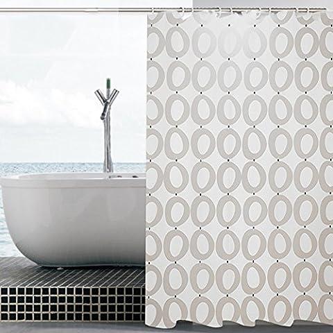 géométrique pierres Peva Rideau de bain étanche Mildew-free Rideau de douche ou Liner Décrochage, Polyester, Cercle, 87*80
