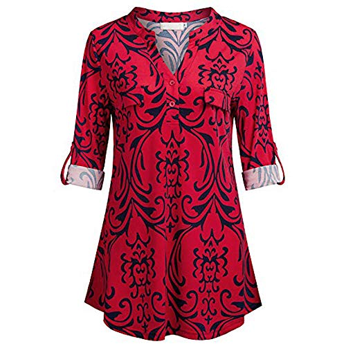 0fb67a617091ba Toamen Womens Shirt Tops Sale 2019 Newest Ladies Button V Neck Long Sleve  Casual Roll-up Plaid Tunic Blouse T-Shirt (Red , 16)