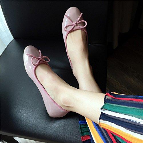 WYMBS Bowknot cuoio testa tonda piatto scarpe scarpe singole donne con scarpe scoop,Rosa, 41