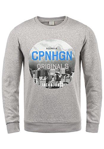 JACK & JONES Originals Photosnow Herren Sweatshirt Pullover Pulli Mit Rundhalsausschnitt, Größe:XXL, Farbe:Light Grey Melange