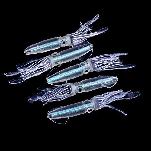 Auntwhale richiamo di pesca morbido bagliore di calamari esca artificiale luminosa acqua salata (5 pezzi)