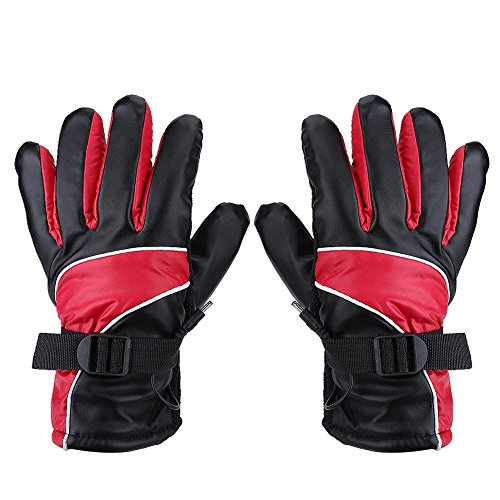 Guanti moto antivento, guanti riscaldati 12V Caccia all'aperto Guanti da sci Guanti invernali impermeabili(rosso)