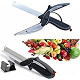 Ketsaal COMBO (pack Of 2) Clever Cutter 2 In 1 Food Chopper/ Tool Slicer Dicer/ Vegetable & Fruit Cutter/ Kitchen Scissor /Knife/ Chopping/ Cutting Board
