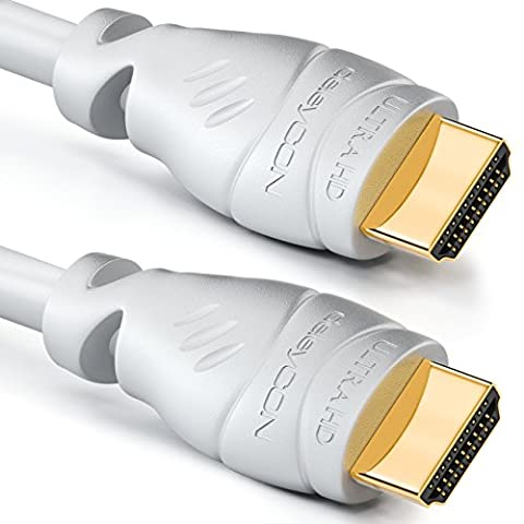 Câble HDMI deleyCON 25m - compatible HDMI 2.0a/b/1.4a - UHD / 4K / HDR / 3D / 1080p / 2160p / ARC - haut débit avec Ethernet - blanc