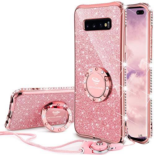 Plus Hülle, Glitzer Diamant Handyhülle mit Trageband und Handy Ring Ständer Schutzhülle für Galaxy S10 Plus Handy Hülle für Mädchen Frauen, [6.4 Zoll] Rosa Gold ()