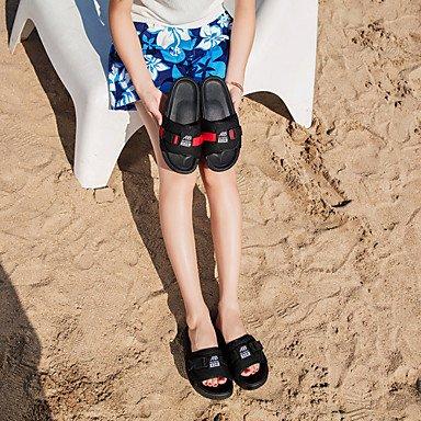 RTRY Donna Sandali Mary Jane Tessuto Estate Abbigliamento Outdoor Casual Fibbia A Piedi Tacco Piatto Nero Rosso Sotto 1In US8 / EU39 / UK6 / CN39