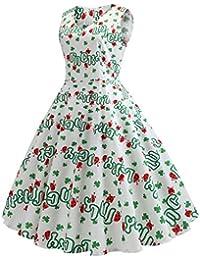 f60a55713af Liqiqi St. Patrick s Day Damen Kleiden Vintage 50er Jahre Retro Neckholder  Ärmelloses Kleid Abschlussballkleid Shamrock