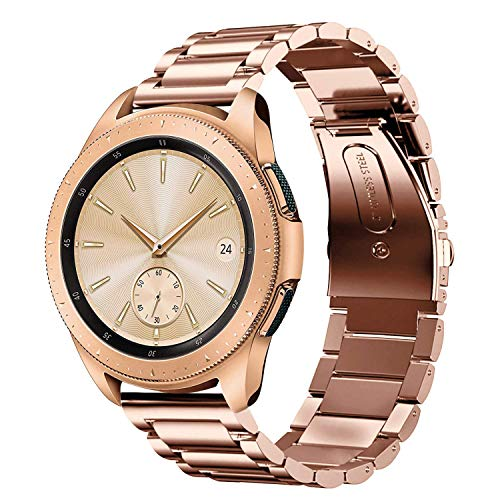 SUNDAREE Kompatibel mit Galaxy Watch 42MM Armband,20MM Metallarmband Armband Edelstahl Uhrenarmband Ersatz für Samsung Galaxy Watch 42MM SM-R810/Samsung Gear S2 Classic/Gear Sport(42 Rosegold)