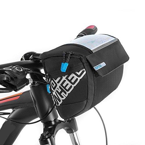 Docooler Fahrrad Lenkertasche multifunktional mit Transparentem PVC-Sichtfenster fürn Handy, 3L, wasserdichtes Material, 20 * 10.5 * 16cm