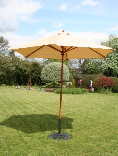 Charles Bentley Wooden Garden Patio Parasol Shade Umbrella with Hardwood Frame - Showerproof Canopy - 38Mm Large