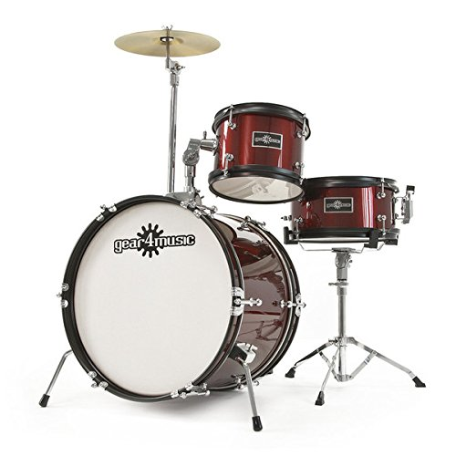 2. Junior 3 Piece Drum Kit by Gear4music Wine Red