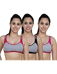 Sure Fit Solid Cotton Casual Pack of 3 Bra Set -(Alicom-Sports-$P)