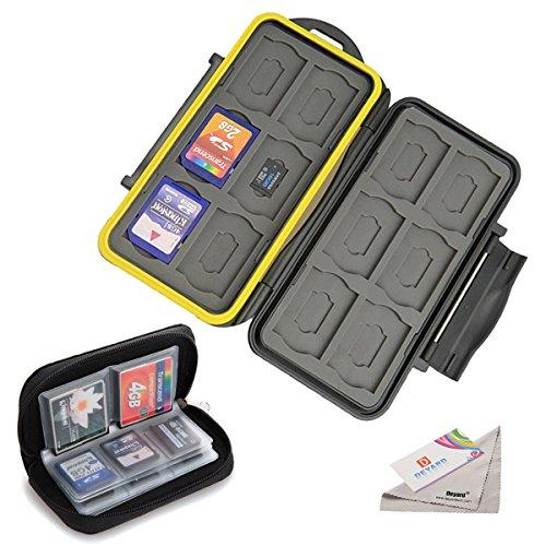 Deyard resistente al agua caja de tarjeta de memoria Tarjeta de memoria a prueba de golpes que lleva el rectángulo de 24 ranuras + bolso de la bolsa con cremallera tarjeta de memoria de almacenamiento de 22 ranuras para SD SDHC MMC CF tarjetas Micro SD