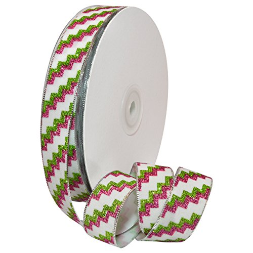 Morex Ribbon 8697.05/25-601 Schleifenband mit Zick-Zack-Zack-Glitzer, Polyester, 2,2 x 0,9 m, Weiß/Pink/Grün - Zick-zack-federn