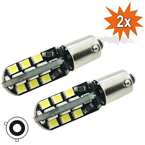 Do!LED BAY9s _24_2835_CB 2 X H21 W Bay9S 24 X 2835 SMD LED Feu De Position Canbus Feu De Recul Feu Arrière Lampe Ampoule À Culot Base En Verre Métallique Moto Xenon Blanc
