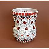 Handgefertigte Vase Windlicht in rot