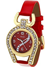 Dice Women's Analogue Red Dial Watch - SUPG-M018-5254
