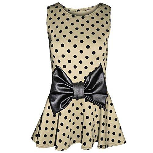 Trendy-Clothings Haut péplum Patineus'avec nœud à pois pour femme Motif léopard Beige - Stone