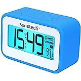 Sunstech FRD30UBL - Radio despertador (FM digital, alarma dual, función Snooze, termómetro, USB de carga, silicona) azul