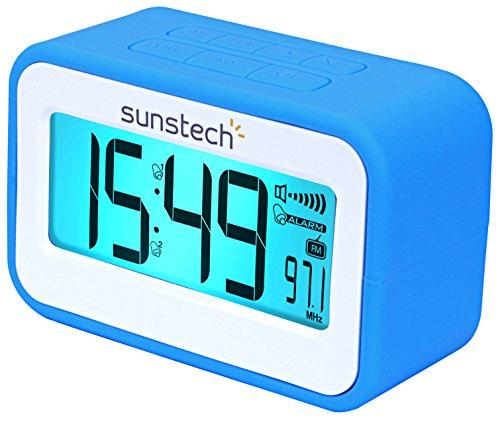 FRD30UBL Radiowecker (FM digital, Dualalarm, Snooze-Funktion, Thermometer, USB zum Laden, Silikon), Blau