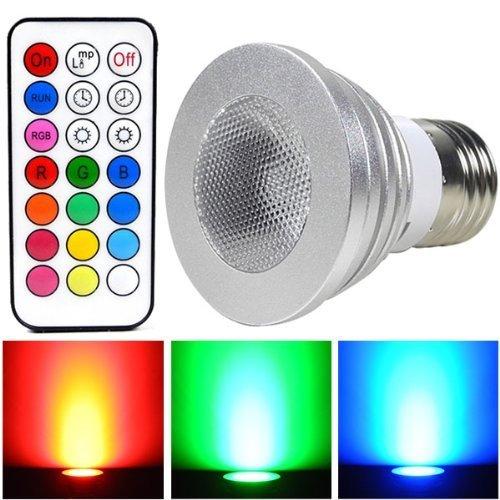 ALFA Beleuchtung E274W LED RGB Lampe SMD LEDs LED farbwechsel Strahler Licht Leuchtmittel mit IR-Fernbedienung (200lm, AC 100–240V, 50x 64mm)–Multicolor Dimmbar inklusive Infrarot Fernbedienung Commander [Energieeffizienzklasse A +]