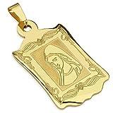 Bungsa Halskettenanhänger Heilige Maria Gold Edelstahl Pendant Religion Jesus Christus (Kettenanhänger Anhänger Charm Beads Chirurgenstahl Damen Herren Schmuck)