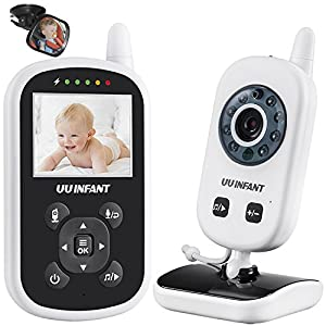 Baby Monitor, Video Baby Monitor with Camera, Night Vision, 2 Way Talk, Nightlight, Lullaby Playing, Microphone and Temperature Sensor by UU INFANT