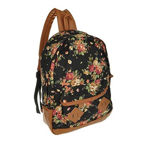 Katomi Negro vendimia de las mujeres de la muchacha floral de la flor linda Bolsa Mochila Mochila Bookbag
