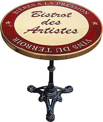 TABLE DE BISTROT EMAILLEE BISTROT DES ARTISTES VINS DU TERROIR ROUGE