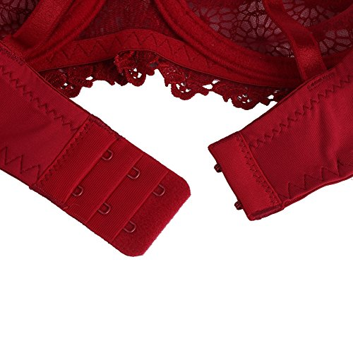Yalatan Women Lace Unlined Bra and Panty Set Red