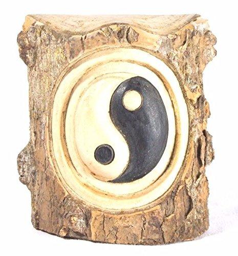 Yin Yang Zeichen 15 cm aus Holz Skulptur Figur Echte Handarbeit Feng Shui Zen Garten