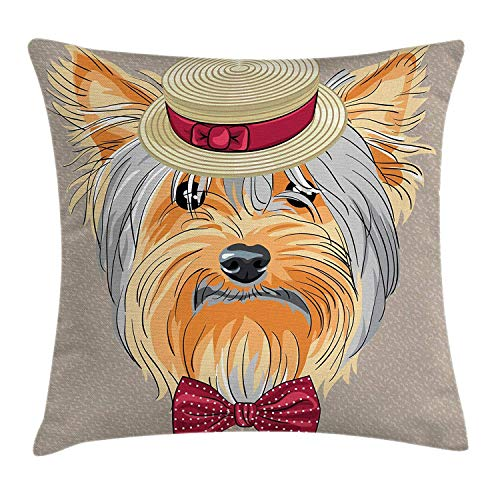 Yorkie Throw Pillow Cushion Cover by, Hipster Yorkie with Cute Straw Boater and Bow Tie Hand Drawn Gentleman Dog, Decorative Square Accent Pillow Case, 18 X 18 Inches, Apricot Multicolor Orange Silk Bow Tie